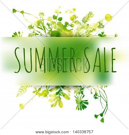 Summer sale colored hand draw watercolor background with leaves and lettering