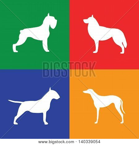 Four different white dog silhouette on colored background