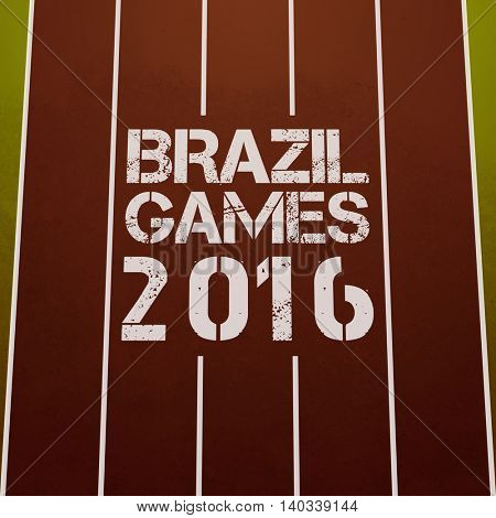 Stylish Text Brazil Games 2016 written on running track, Creative Poster, Banner or Flyer design for Sports concept.
