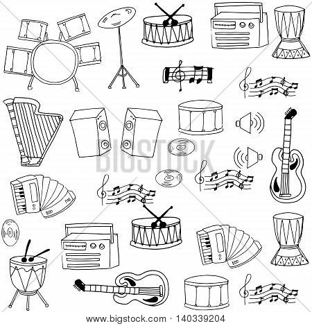 Doodle of hand draw music object illustration