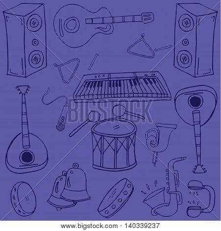 Doodle of music on purple backgrounds illustration