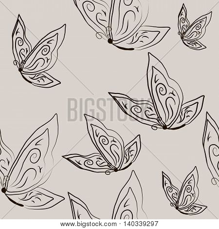 Seamless with beautiful butterflies in sketch style