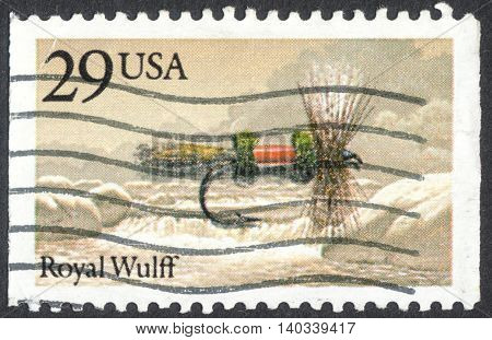 MOSCOW RUSSIA - CIRCA APRIL 2016: a post stamp printed in the USA shows a royal wulff the series