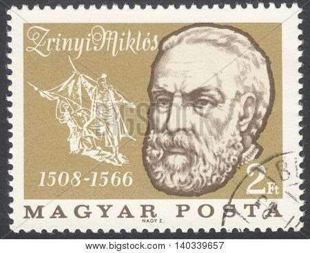 MOSCOW RUSSIA - CIRCA APRIL 2016: a post stamp printed in HUNGARY shows a portrait of Miklos Zrinyi devoted to the 400th Anniversary of the Death of Miklos Zrinyi circa 1966