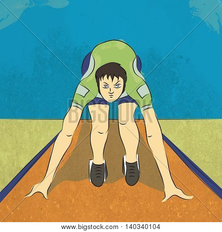 Illustration of a young runner ready to start the race on grungy background for Sports concept.