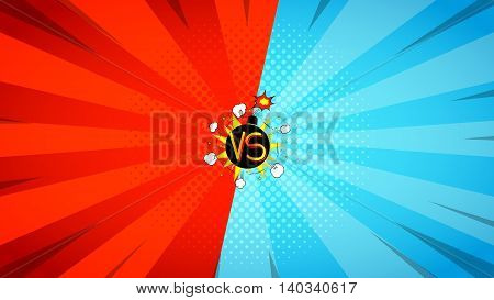 Versus letters fight illustration. Vector backdrop. Decorative background with bomb explosive in pop art style.