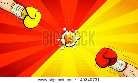 Versus letters fight backdrop. Vector illustration with hands of boxers. Decorative background with bomb explosive in pop art style.