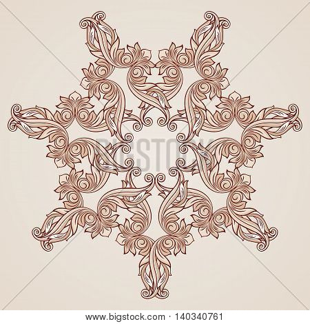 Abstract florid ornament in pastel rose pink tints