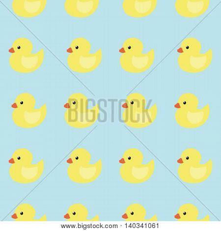Seamless pattern of small yellow ducks on a blue background. Vector illustration.
