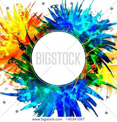 Colorful Abstract Splash Background with blank Frame, Vector Illustration.