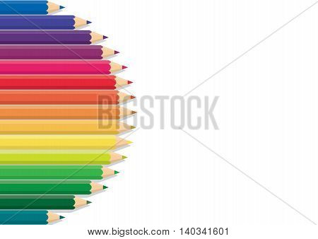 Pencil Color Row Background Is Rainbow-colored Wood As The Frame Vector.