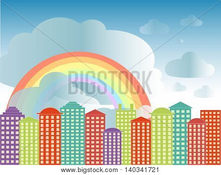 City series background. Colorful buildings, blue cloudy sky, rainbow, vector illustration