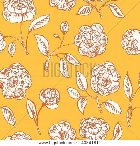 Doodle vector floral yellow seamless pattern background