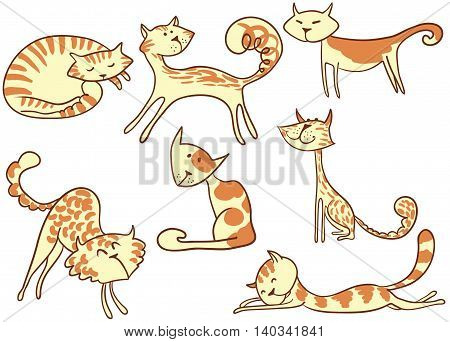 Cute vector doodle colorful cats set on white