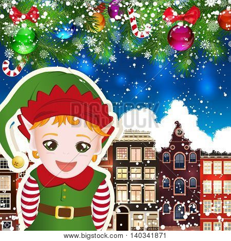 Elf on the background of snow-covered streets. New Year design background. Falling snow.  Holiday illustration with place for text.