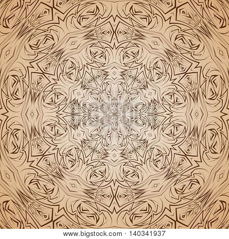 Abstract pattern in beige and brown with sharp line round ornament