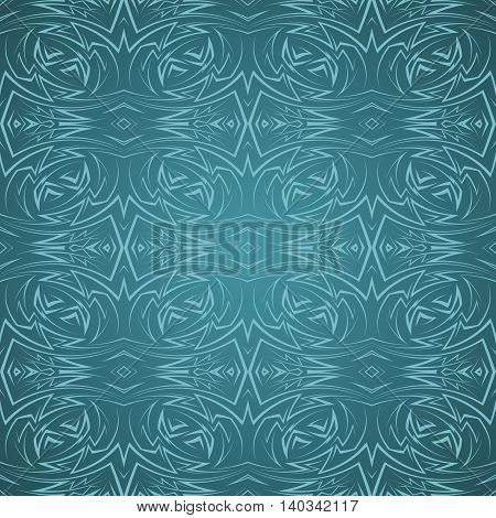 Abstract seamless pattern in cyan color with sharp line ornament