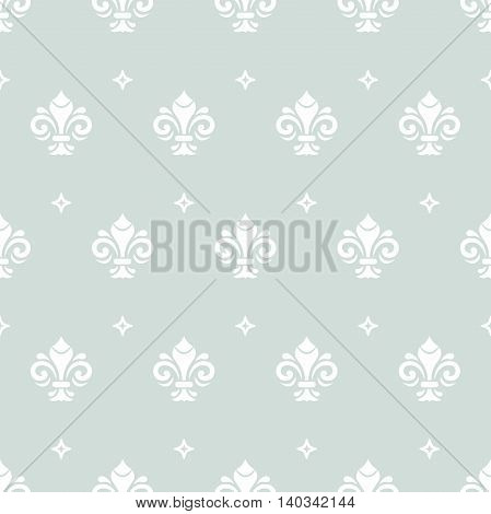 Seamless vector ornament. Modern geometric pattern with royal lilies. Light blue and white pattern