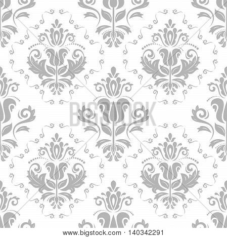 Elegant vector classic pattern. Seamless abstract background with repeating elements. Silver and white pattern