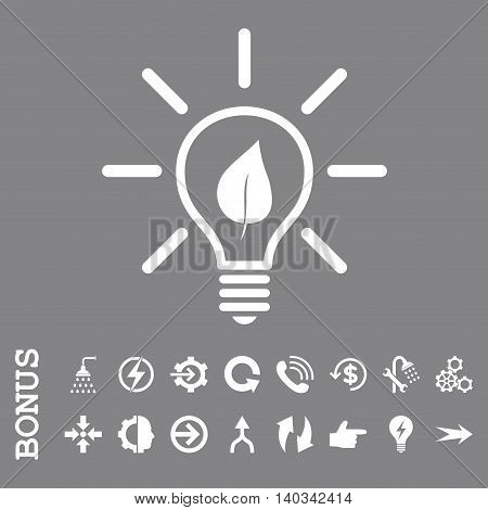 Eco Light Bulb vector icon. Image style is a flat iconic symbol, white color, gray background.