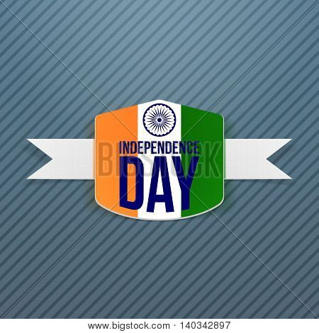 Indian Independence Day Badge with Shadow. Vector Illustration