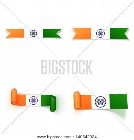 India Flag realistic Ribbons Set. Vector Illustration