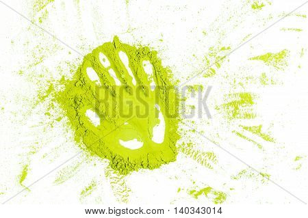 Green Powder Forming Hand Shape Surface Close Up Background