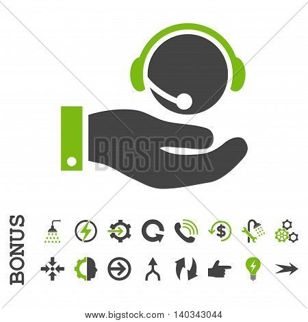 Call Center Service vector bicolor icon. Image style is a flat pictogram symbol, eco green and gray colors, white background.