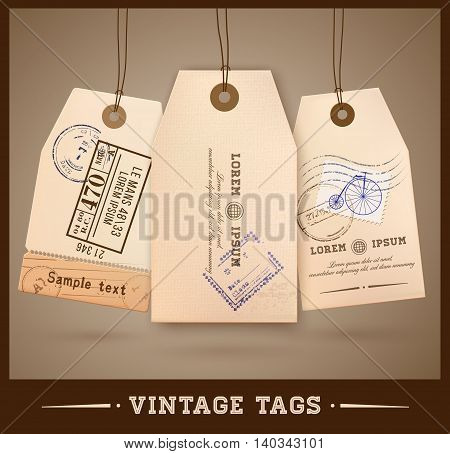 Vintage style tags design. Retro tag. Vector illustration