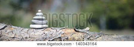image of pebble tower with soft bokeh