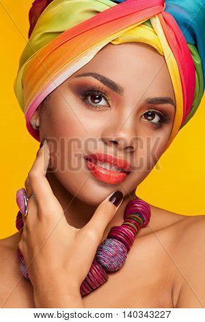 Afro American Woman With Fashion Ethinc Turban