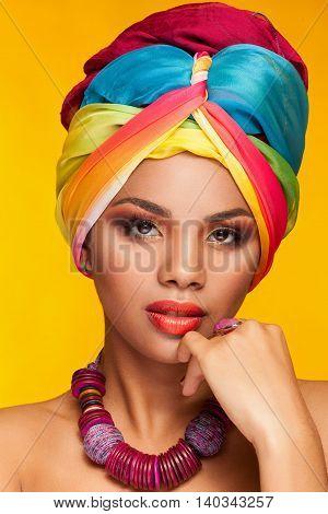 Woman In Ethnical Afro American Turban