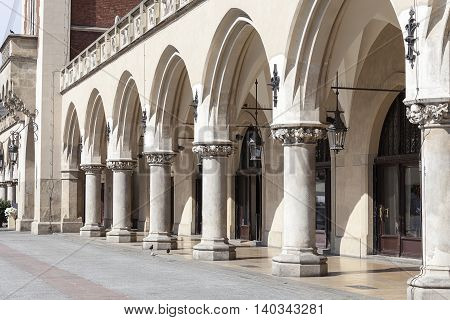 Arcaded Cloth Hall ( Sukiennice) Main Market Square Krakow Poland