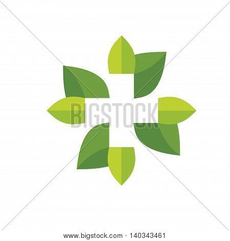 cross pharmacy with  leaf logo design vector
