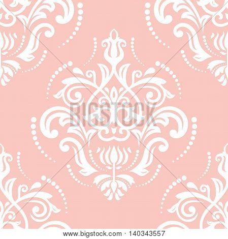 Seamless damask vector pattern. Traditional classic orient ornament. Pink and white pattern