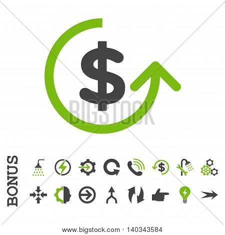 Chargeback vector bicolor icon. Image style is a flat iconic symbol, eco green and gray colors, white background.