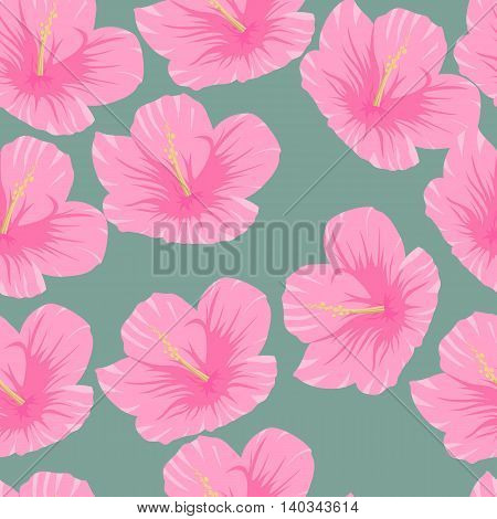 Seamless pattern of tropical pink hibiscus flowers on a green background