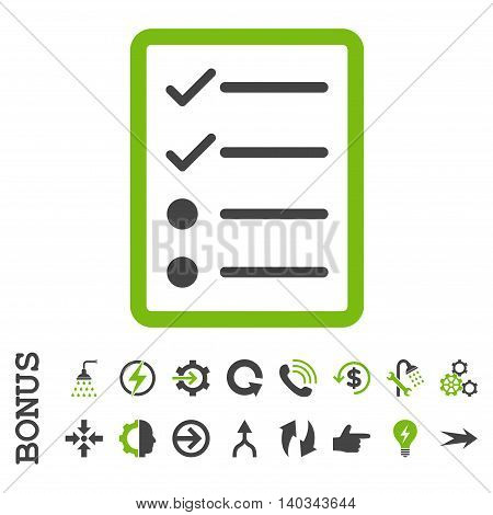 Checklist Page vector bicolor icon. Image style is a flat pictogram symbol, eco green and gray colors, white background.