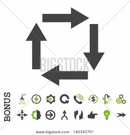 Circulation Arrows vector bicolor icon. Image style is a flat pictogram symbol, eco green and gray colors, white background.