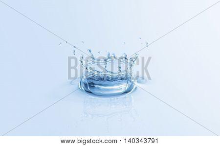 Splash water drop close up. Crown shape