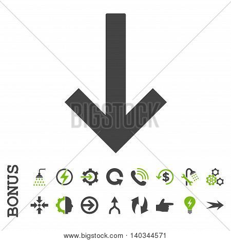 Down Arrow vector bicolor icon. Image style is a flat iconic symbol, eco green and gray colors, white background.