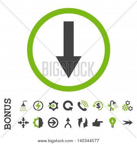 Down Rounded Arrow vector bicolor icon. Image style is a flat pictogram symbol, eco green and gray colors, white background.