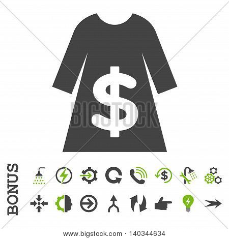 Dress Sale vector bicolor icon. Image style is a flat pictogram symbol, eco green and gray colors, white background.
