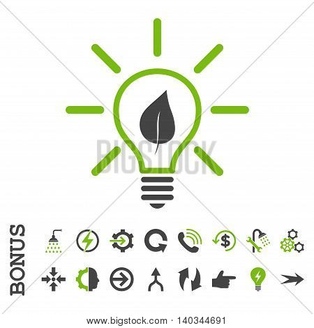 Eco Light Bulb vector bicolor icon. Image style is a flat iconic symbol, eco green and gray colors, white background.