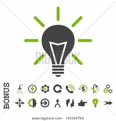 Electric Light vector bicolor icon. Image style is a flat iconic symbol, eco green and gray colors, white background.