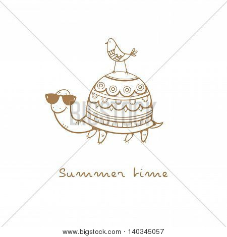 Card with cute cartoon  turtle in sunglasses  and bird. Summer time. Children's illustration. Funny animals. Vector contour image no fill.