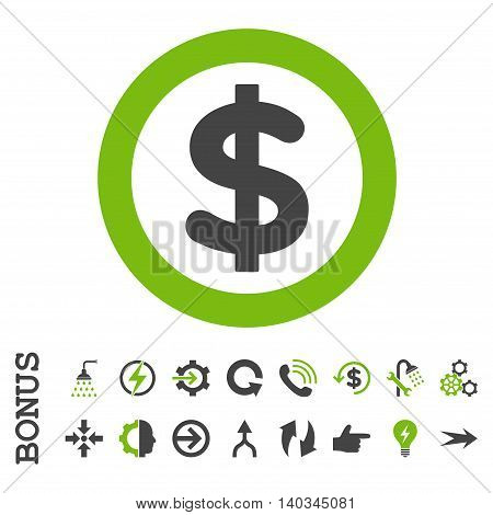 Finance vector bicolor icon. Image style is a flat iconic symbol, eco green and gray colors, white background.