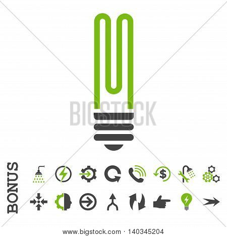 Fluorescent Bulb vector bicolor icon. Image style is a flat pictogram symbol, eco green and gray colors, white background.