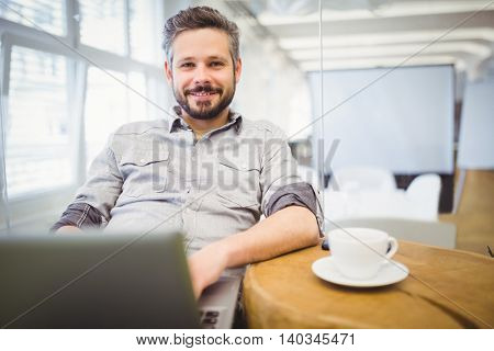 Portrait of businessman using laptop in creative office