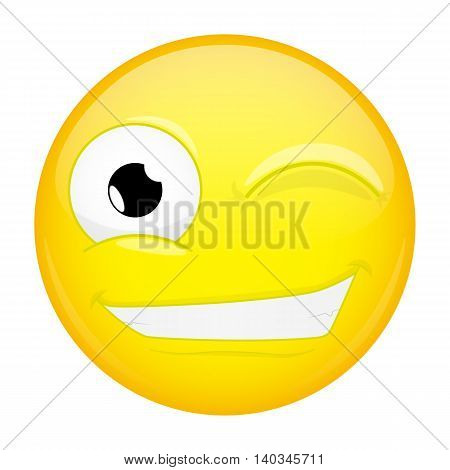Wink emoji. Happy emotion. Twinkle emoticon. Vector illustration smile icon.
